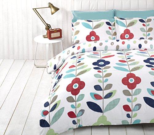 Essence Lulu Flowers Reversible Duvet Cover Quilt Bedding Set, Double (Blue, Red, Green, White)