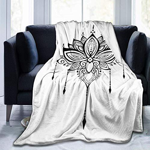 AEMAPE Flor de Loto Henna Ornamental Étnico Zen Las Artes Naturaleza Manta Decorativa Fuzzy Shaggy Blanket Fluffy Cozy Plush Comfy Blanket 127X102CM
