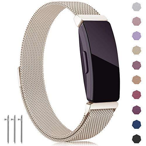 Brinny Armband Kompatibel mit Fitbit Inspire HR Bands/Inspire Band Armbänder, Verstellbares Metallbänder rostfreiem Stahl Ersatzarmband Ersatzband mit einzigartigem Verschluss