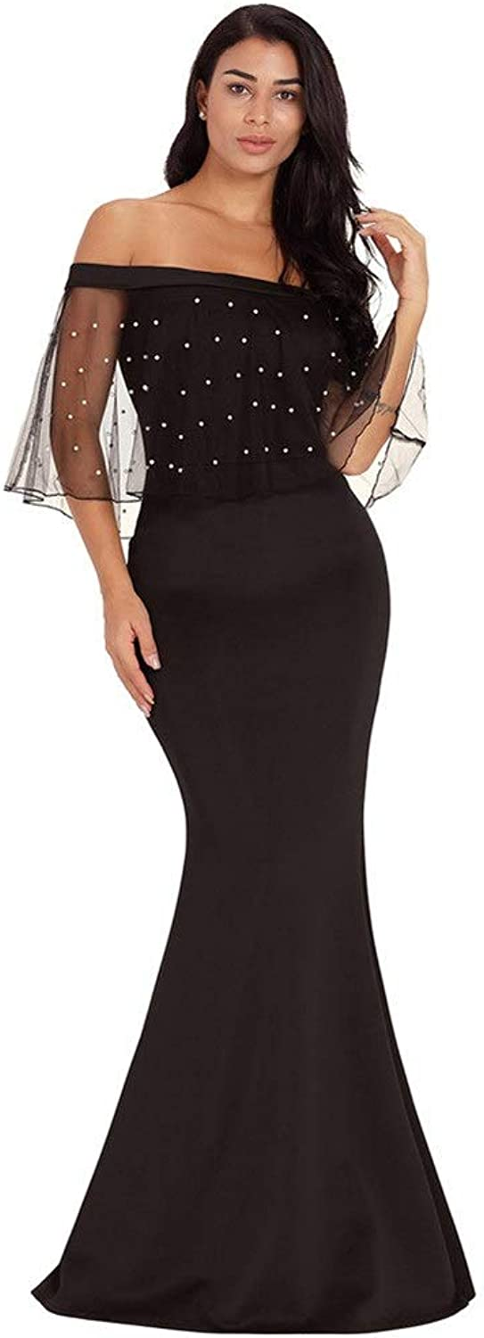 Bridesmaid Dress Women Off The Shoulder Prom Dress Evening Gowns Polka Dots Sheer Mesh Batwing Cape Formal Long Maxi Dress Cocktail Party Strapless Dress Bodycon Mermaid Dress