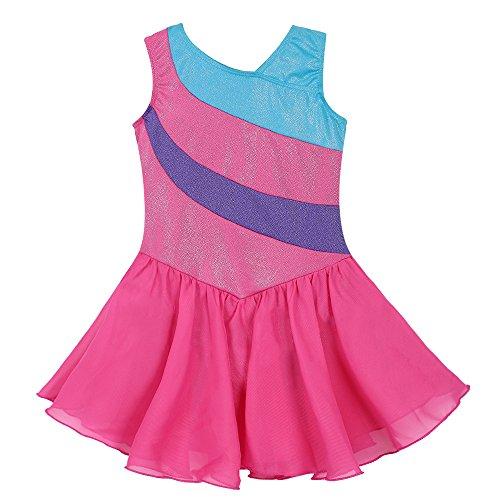 Kidsparadisy - Maillot con falda para niñas de 2 a 15 años, manga larga y sin mangas, con bandas arco iris, para gimnasia, baile y ballet, Infantil, color Rosa intenso., tamaño 140(8-9T)