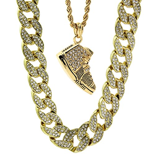 """Mens 14k Gold Plated 15mm Iced Cz Miami Cuban 30"""" Chain Yeezy Shoe 350 YZY Pendant Set"""