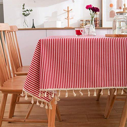 SONGHJ Leinenbaumwollquaste Tischdecke Tischdecke mit rechteckigem Rand Bedruckte staubdichte Tischdecken D 140x200cm
