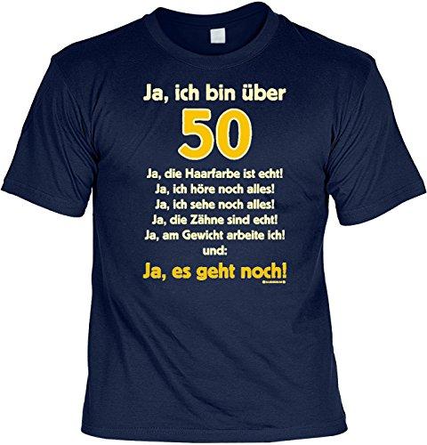 T-Shirt mit Urkunde - Ja, ich Bin über 50 - lustiges Sprüche Shirt als Geschenk zum fünfzigsten Geburtstag - NEU mit gratis Zertifikat!