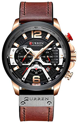 CURREN Black Military Chronograph Fashion Trend Multi-Function Waterproof Quartz Watch Brown Leather Strap (Rose Gold Black)