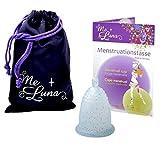 Me Luna Coupe menstruelle Classic, boule, bleu/paillettes, Taille M