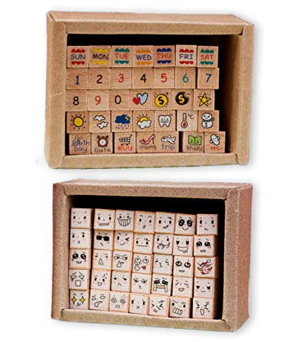 Micia Crafts 70 Pcs Weekly Diary Wood Rubber Stamp Set Scrapbook Craft Art