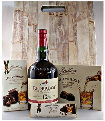 Geschenk Redbreast 12 Jahre irischer Whiskey + Whiskey Truffles + Dark Whiskey Chocolate + Schokoladenriegel mit Trüffelfüllung