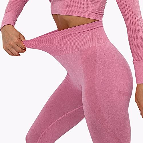 MANIFIQUE Leggings Sport Damen Push Up Sporthose Butt Scrunch Sportleggings Blickdicht Lift Fitnessleggings mit Hohe Taille für Yoga Jogging Sport Freizeit Rosa