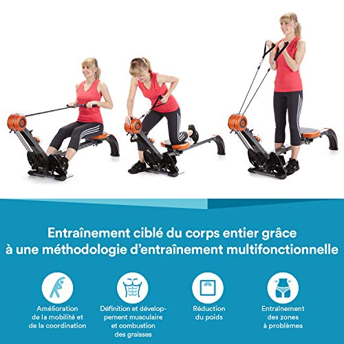 skandika Regatta Multi Gym Poseidon - Rameur d'appartement Pliable - Silencieux - Peu d'entretien (GIS/Orange)