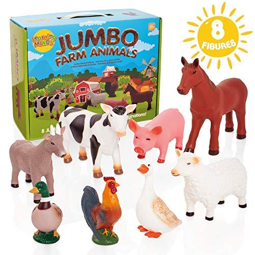 Learning Minds Set von 8 Jumbo Farm Tierfiguren - 18 Monate +