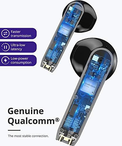 Tronsmart Onyx Ace Auriculares Bluetooth 5.0, Qualcomm Chip QCC3020, Auriculares Inalámbricos con 4 Micrófonos, 24H Playtime, Aptx HD Calidad de Sonido, Cancelación de Ruido, Carga Rapida y IPX5