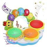 EPCHOO Juguetes de instrumentos musicales para bebés, kit de tambor de bebé de educación temprana, juguete de mano de tambor de bebé, juguetes musicales para 1 año de edad
