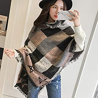 Winter Long Scarf Scarf Women's Autumn and Winter Thick Plaid Color Matching Warm Long Paragraph Scarf Winter Knit Shawl Dual-use (Color : Khaki) Winter Soft Scarf (Color : Khaki)