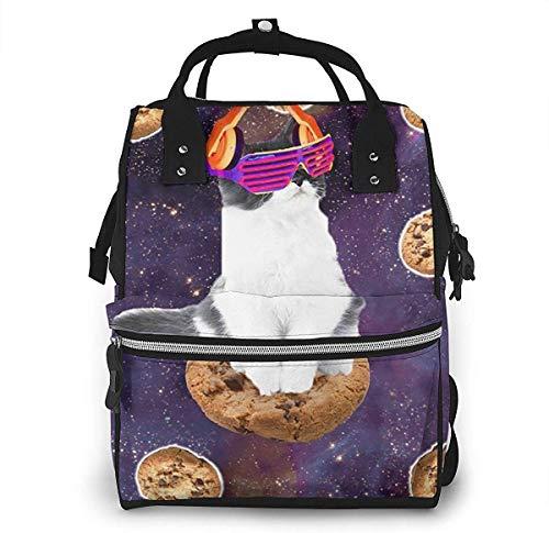 nbvncvbnbv Rave Kitty Katze Auf Choc Cookie Im Weltraum Wickeltaschen Reisemama Windeltaschen Mode Rucksack Multifunktions-Reiserucksack