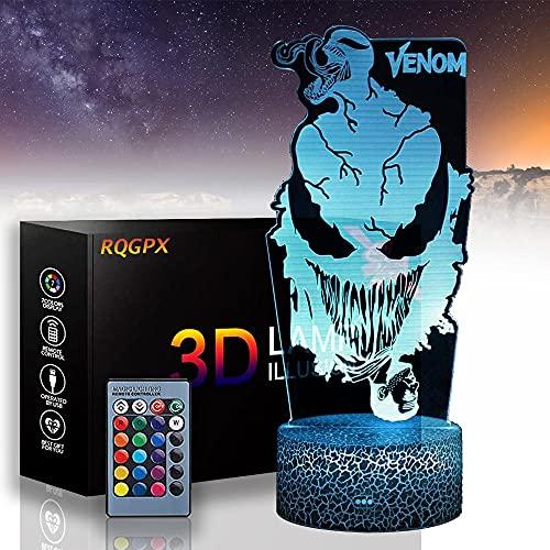 Venom - Luz LED 3D de noche, luces nocturnas para niños, 16 colores, cambio automático, interruptor táctil, decoración de escritorio, regalo de cumpleaños con mando a distancia