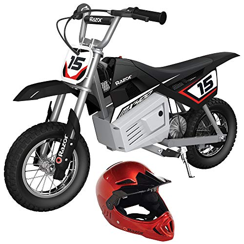 Razor MX400 Dirt Rocket 24V Electric Ride On Toy Motocross Motorcycle Dirt Bike Bundle with Youth Full Face Helmet