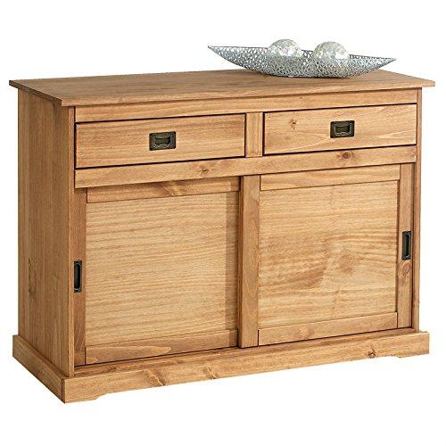 IDIMEX Anrichte Kommode Sideboard Savona mit 2 Türen 2 Schubladen, Holzkommode Kiefer massiv, Oberfläche braun lackiert