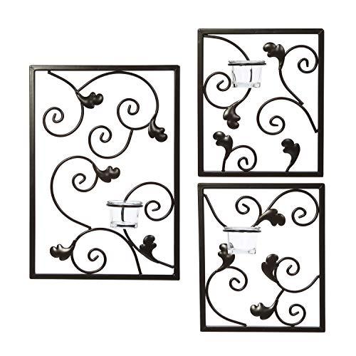 HOSLEY® Wandbild Wandleuchte Set (3 Stück). Bügeln Teelicht modernes Art Wand Plaque für Ihr Zuhause, SPA, Aromatherapie oder als Geschenk