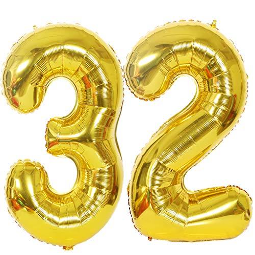 """2 Globos Numero 32 Oro, Ouceanwin Gigante Foil Globos Número 32 Grande Globo de Papel de Aluminio, 40"""" Helio Globo Inflable para Decoración de Fiesta de Cumpleaños y Aniversario (100cm)"""