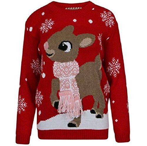 Damen Bambi Deer Weihnachtspullover Frauen 3D Tassel Schal Pullover Sweater, 3D Scarf Rot, XL / 44/46
