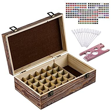 Essential Oil Storage Box – 30 Slots for 5ml, 10ml and 15ml Bottles– Wooden with Carry Handle – Includes FREE ACCESSORIES Habom