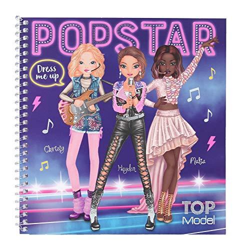 Depesche 11452 - Libro di Adesivi TopModel Dress Me Up Popstar, ca. 18 x 17,5 cm, con 24 Pagine illustrate e 11 Fogli Adesivi da incollare e disegnare, Multicolore