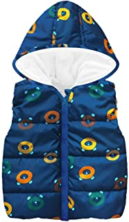 Dinlong Toddler Kid Baby Girl Boys Sleeveless Star Print Hooded Winter Warm Coat