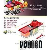 スチールブレード付き野菜カッター10 in 1(レッドスライサーベース、ハンドプロテクター、収納ボックス、ピーラー、6枚のスライシングボード)食品グレードのステンレススチールとBPAフリーのキッチンアクセサリー (Vegetable Cutter with Steel Blade 10 in 1 (Red Slicer Base, Hand Protector, Storage Box, Peeler, and 6pcs Slicing boards) Food-Grade stainless steel & BPA-Free Kitchen Accessories)