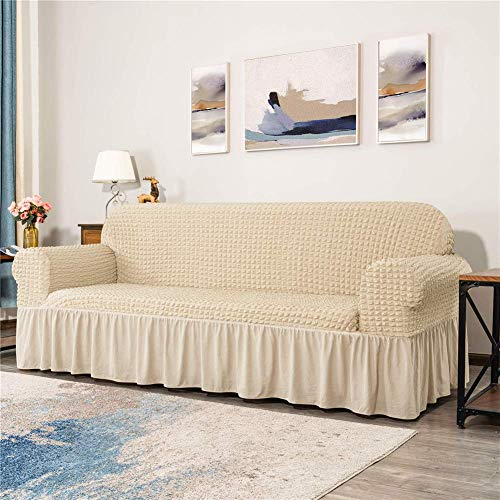 HOAPL 1 Piece Universal Sofa Cover Stretch Slipcovers for Couch 1 2 3 4 Seater Jacquard Elastic Sofa Protector Fitted Sofa Covers with Skirt Extra Large,Beige,Sofa
