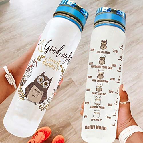Knowikonwn Botellas de agua con diseño de búho, a prueba de fugas, ideal para gimnasio, camping, color blanco 5, 1000 ml