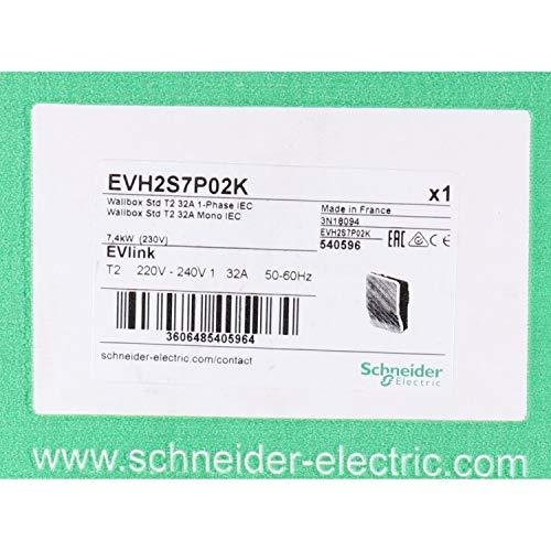 Schneider Electric EVH2S7P02K EVlink Wallbox, 7.4kW, T2, 480mm x 331.5mm x 170mm, Blanco
