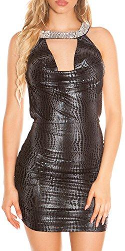 Koucla Ärmellos Wasserfall Ausschnitt Rückenfrei Kleid Kurz Minikleid S