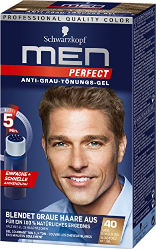 Schwarzkopf Men Perfect Anti-Grau-Tönungs-Gel, 40 Natur Dunkelblond 3er Pack (3 x 80 ml)
