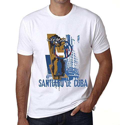 Hombre Camiseta Vintage T-shirt Gráfico SANTIAGO DE CUBA Lifestyle Blanco