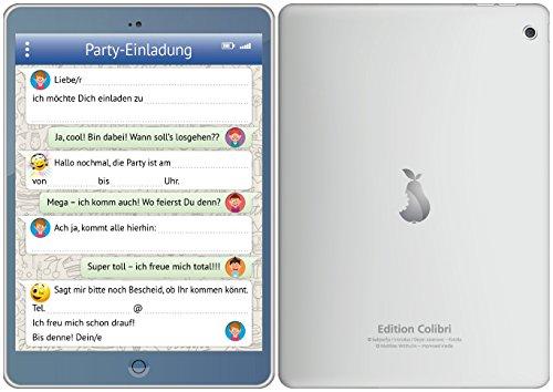 8-er-Set lustige Tablet-Einladungskarten (10730) mit WhatsApp-Nachricht und Smileys (Emojis) zum Kindergeburtstag von EDITION COLIBRI © - umweltfreundlich, da klimaneutral gedruckt