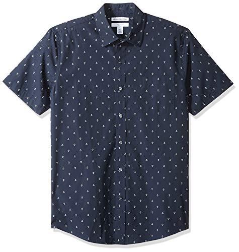 Amazon Essentials - Camisa de manga corta y corte entallado con estampado para hombre