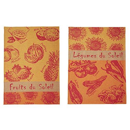 Coucke Lot de 2 torchons Jacquard Pur Coton, Fruits et Légumes du Soleil