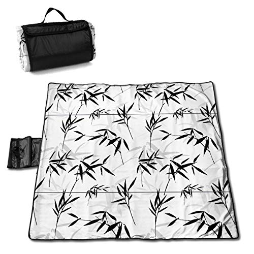 Feimao Large Estera de Picnic 57 * 59 In with Respaldo Impermeable For Picnic Cámping,Ink Drawing Seamless Pattern with A Bamboo