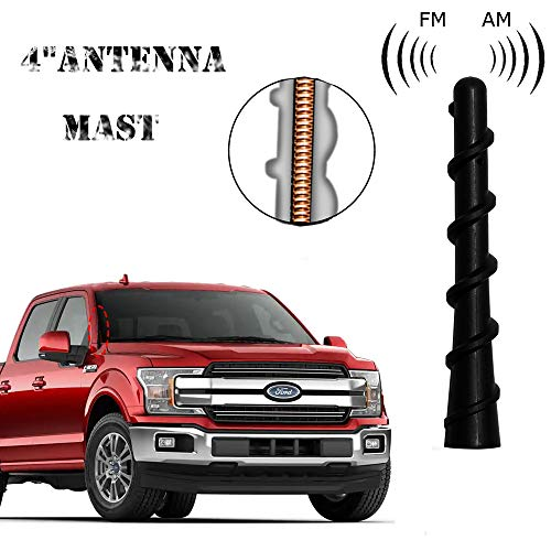 HUSUKU Screw 4 inches Car Antenna Perfect Replacement Fit Ford F150 250 1999-2019 Dodge RAM 1500 2500 3500 for Optimized FM/AM Reception Aerial Accessories AL8Z18813A,D3AZ18813A,68273987