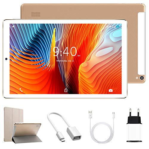 YOTOPT Tablet 10 Zoll mit Hülle, Android 10.0, 4G Dual SIM, 64GB, 4GB RAM, Wi-Fi/Bluetooth/GPS, Type-C, Gold