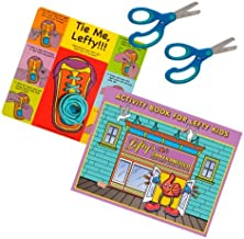 Left-Handed 4 Piece Learn to Tie, Activity Book, 2 Pair Blue Scissors, Blue