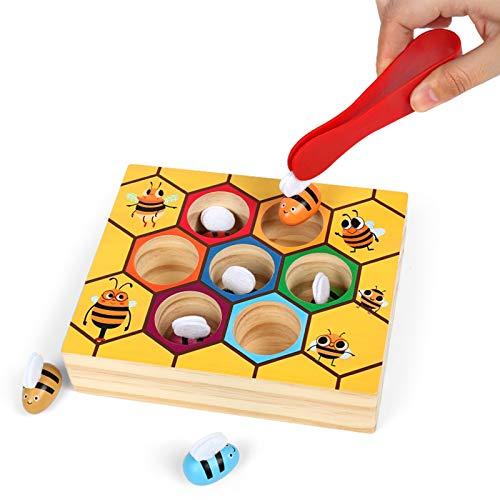 WFF Spielzeug Clip Baby Bee Lernspielzeug zu pflegen Konzentration und Feinkinder Bewegungen Holzspielzeug (Color : 2pieces)