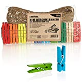 com-four® 120x Mini Pinzas y Cuerda de Yute 50m -Pinzas de Madera para fotografías, collages, Postales, Fotos y Regalos (120 Piezas - Colorido)