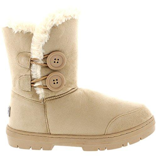 Damen Schuhe Twin Knopf Fell Schnee Regen Stiefel Winter Fur Boots - Beige - 40 - AEA0171