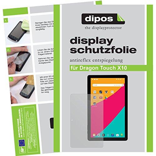 dipos–Protector de pantalla compatible con Dragon Touch X10(2unidades, antirreflectante), mate