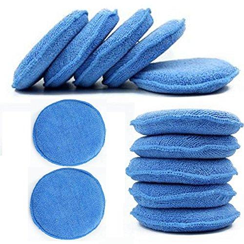 CarCarez Microfiber Foam Car Wax Applicator Pad for Hand Polish, Pack of 12