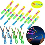 Rocket Slingshot Copters with LED Lights Glow The Dark Party Helicopters 12 LED Helicopters,Rocket Slingshot Copters Amazing Arrow Helicopter Glow Supplies for Kids(24 Pieces )