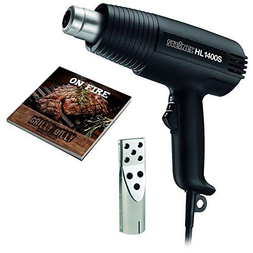 Steinel Grill-Set mit Heißluftpistole HL 1400 S, Grillanzünder-Düse und Rezeptbuch, 1400 W Heißluftfön, 500°C, 450 l/min