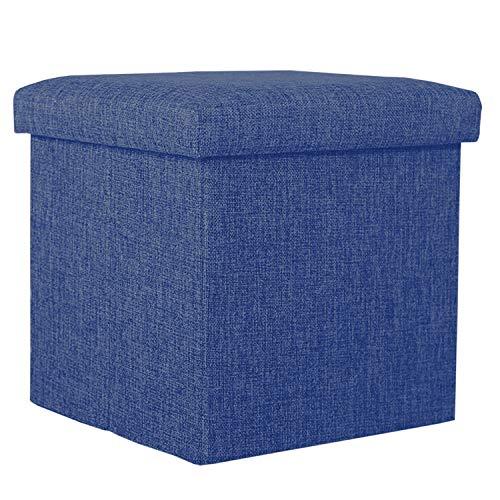 収納スツール 収納ボックス オットマン 折りたたみ式 座椅子 ストレージチェア 足置き 踏み台 大容量収納 耐荷重80kg 綿麻製 衣類収納 小物収納 リビング/玄関/寝室適用 30*30*30cm (ブルー)